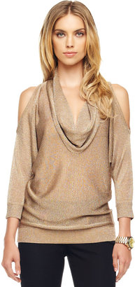 Michael Kors Shimmery Cold-Shoulder Sweater