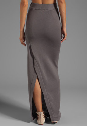 Enza Costa Cashmere French Terry Slit Maxi Skirt