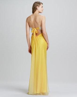 La Femme Boutique Strapless Sequined-Top Gown