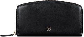 Maxwell Scott Bags Black Italian Leather Large Womens Zipped Slim Purse