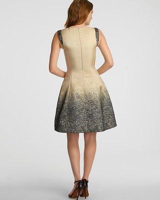 Halston Ombre Jacquard Flared Skirt Dress