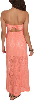 Wet Seal Strapless Crochet Maxi Dress