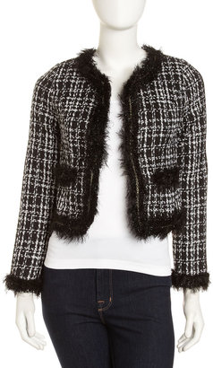 Neiman Marcus Cropped Tweed Jacket, White/Black