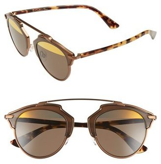 Women's Dior So Real 48Mm Round Brow Bar Sunglasses - Bronze/ Havana $560 thestylecure.com