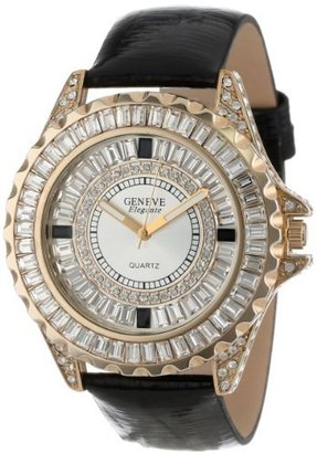 Swarovski Geneve Elegante Unisex 5154_gold/blk Crystal Leather Watch