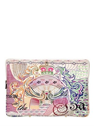 Mary Katrantzou Sterling Printed Leather Large Pouch