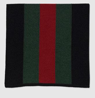 Gucci Signature Web Black Knit Scarf