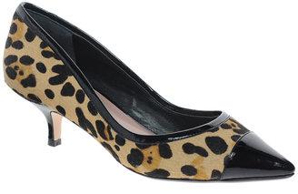Dune Akon Mid Heel Leopard Court Shoes