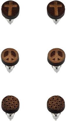 Topman Wood Stud Earrings