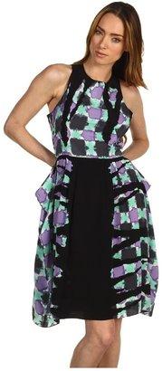 Tibi Geneva Print Sleeveless Draped Dress Women's Dress