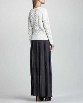 Rebecca Taylor Knit-Waist Pleated Maxi Skirt