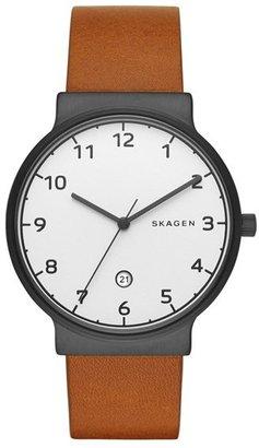 Skagen 'Ancher' Round Leather Strap Watch, 40Mm $165 thestylecure.com