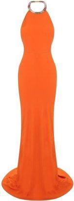 Alexander McQueen Orange Crystal Necklace Dress