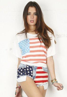 Singer22 RUNWAYDREAMZ Vintage American Flag Short in American Flag 617