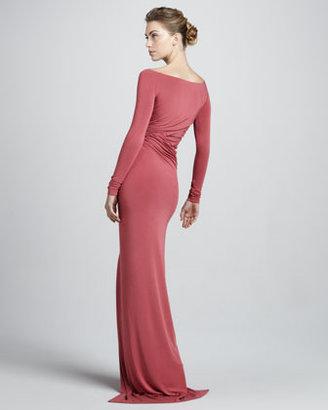 Donna Karan Off-the-Shoulder Draped Jersey Gown, Sunset Rose