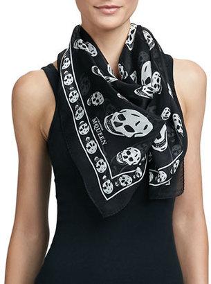 Alexander McQueen Chiffon Skull Scarf, Black/Ivory