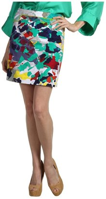 Rachel Roy Arts Stencil Print Skirt (Capri Blue Multi) - Apparel