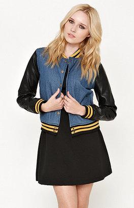 Lue Faux Leather Sleeve Denim Varsity Jacket