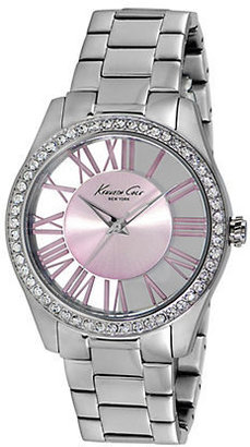 Kenneth Cole NEW YORK Ladies' Silver-Tone & Crystal Watch with Transparent Dial