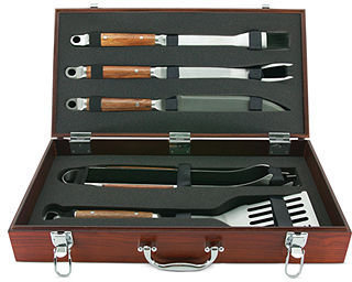Mr. BBQ Stainless Steel BBQ Tool Set, 5 Piece Rosewood Handles