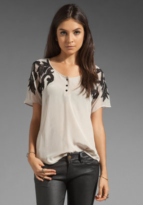 Beyond Vintage Silk Henley Blouse with Lace Detail