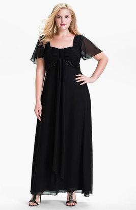JS Boutique Flutter Sleeve Chiffon Gown (Plus)
