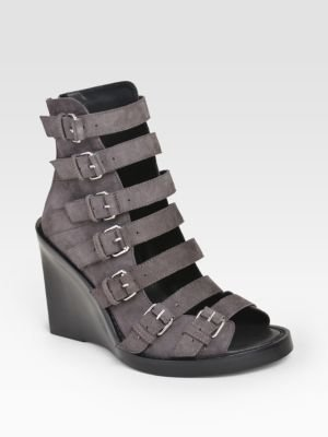 Ann Demeulemeester Multi Buckle Suede Wedge Sandals
