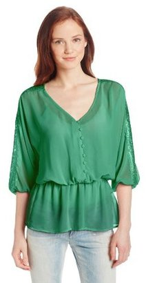 My Michelle Juniors Peasant Blouse with Lace Sleeve Deatil