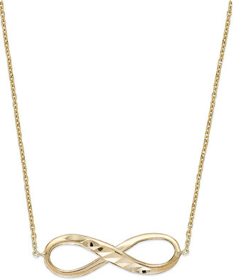 14k Gold Necklace, Infinity Pendant