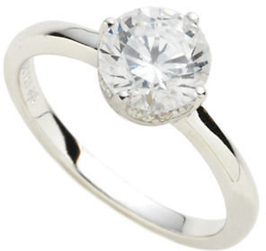 Crislu Platinum Over Sterling Silver Cubic Zirconia Solitaire Ring