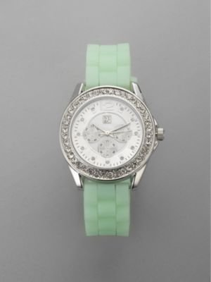 New York & Co. Rubber Strap Pave Embellished Watch