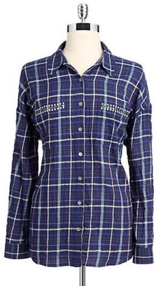 Vince Camuto TWO BY Plaid Hi-Lo Button Down Shirt