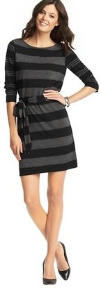 LOFT Petite Striped Tie Waist Jersey Dress