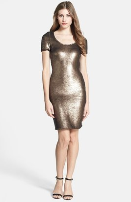 Halston Short Sleeve Sequin Dress