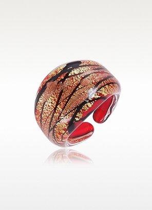 Murano Antica Murrina Laguna - Red, Gold & Black Glass Ring