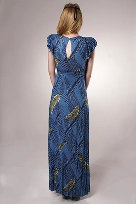 T-Bags T Bags Kimono Maxi Dress with Butterfly Sleeves in Botanical Print
