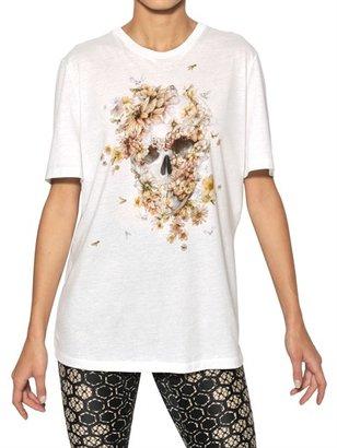 Alexander McQueen Floral Skull Print Cotton Jersey T-Shirt
