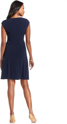 Charter Club Petite Dress, Cap-Sleeve Ruffled Faux-Wrap A-Line