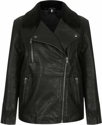 Topshop Sheepskin collar leather biker