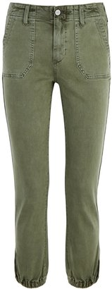 Paige Mayslie Green Stretch-denim Cargo Trousers