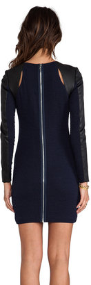 Yigal Azrouel Cut25 by Leather Combo Sleeve Ponte Dress