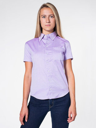 American Apparel Unisex Pinpoint Oxford Short Sleeve Button-Down with Pocket
