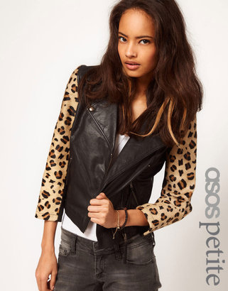 Asos Leather Biker jacket With Leopard Sleeves