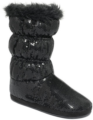 Roxy Booties, Candy Cane Faux-Fur Slipper Booties