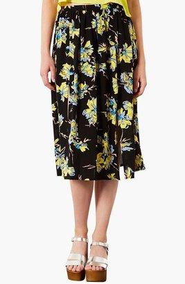 Topshop Dark Floral Midi Skirt