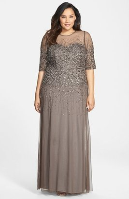 Plus Size Women's Adrianna Papell Beaded Illusion Gown $335 thestylecure.com