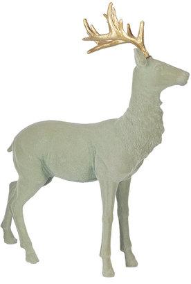 Gisela Graham - Flocked Reindeer Ornament - Pale Green