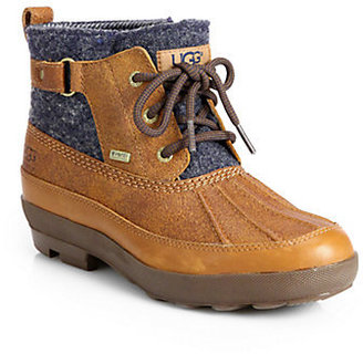 UGG Lina Leather & Wool Lace-Up Duck Boots