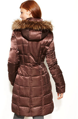 Calvin Klein Hooded Faux-Fur-Trim Long Quilted Puffer Coat
