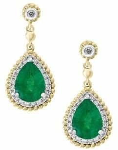 Effy Brasilica 14K White and Yellow Gold Natural Emerald 0.18 TCW Diamond Earrings
